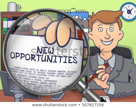 市場 · 虫眼鏡 · いたずら書き · ビジネスマン · オフィス - ストックフォト © tashatuvango