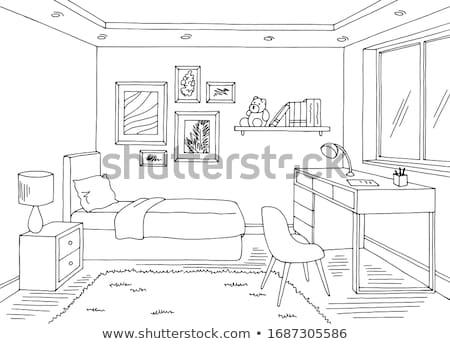 Foto stock: Desenho · quarto · moderno · casa · interior · 3D