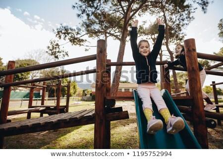 2 女の子 スライド 公園 実例 子供 ストックフォト © bluering