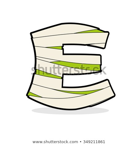 Letter E Monster zombie. Alphabetical icon medical bandages. Egy Stock photo © popaukropa