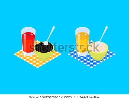 Desayuno establecer negro marrón arroz jugo de fruta Foto stock © MaryValery