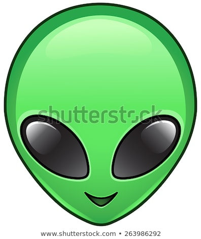 Groene vreemdeling gezicht sticker humanoid hoofd Stockfoto © ikopylov