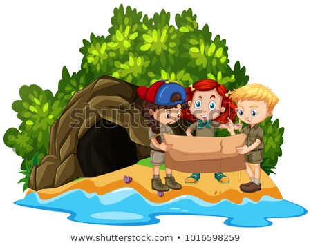 Three kids looking at map in front of cave on island Stock photo © bluering
