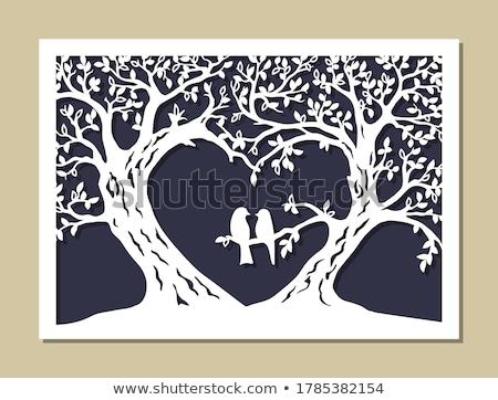 Miłości drewna cięcie drzewo symbol serca Zdjęcia stock © popaukropa