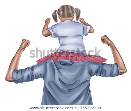 Lánygyermek vállak gyermek apa rózsaszín citromsárga Stock fotó © IS2