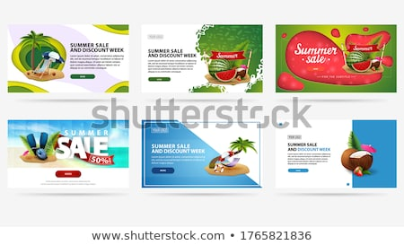 abstract particle style origami sale banner set stock photo © sarts