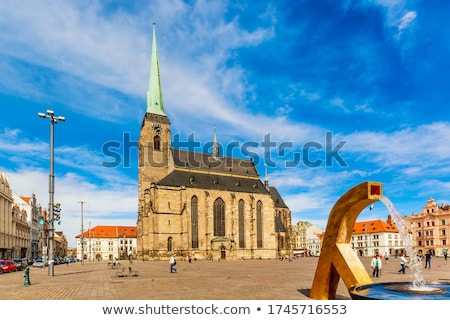 St. Bartholomew Cathedral and Old Water Tower in Pilsen Stock photo © benkrut