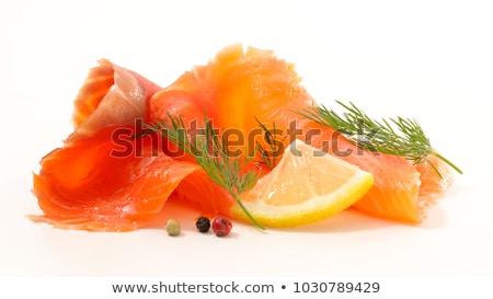 Wędzony łosoś odizolowany biały żywności tle cytryny Zdjęcia stock © M-studio