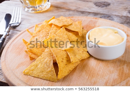 Served nachos with sauces on table Stock photo © dash