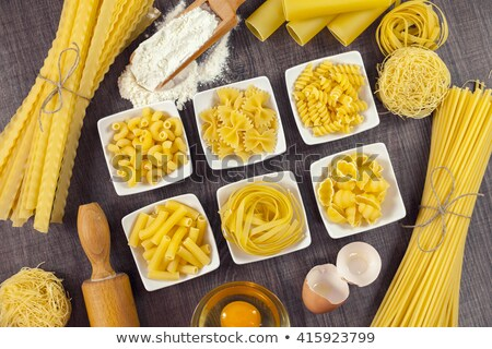 Bowls of pasta and macaroni in assortment Stock photo © dash