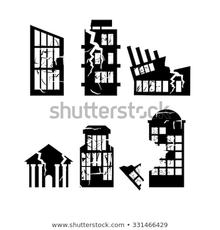 set of destroyed buildings home after earthquake skyscrapers a stock photo © popaukropa