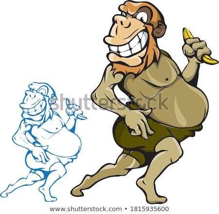 Karikatür öfkeli süper kahraman maymun bakıyor Stok fotoğraf © cthoman