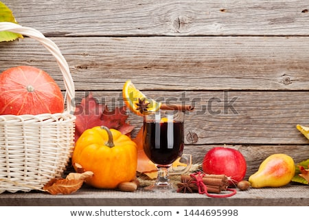 Autumn still life with pumpkins and mulled wine Stock photo © karandaev