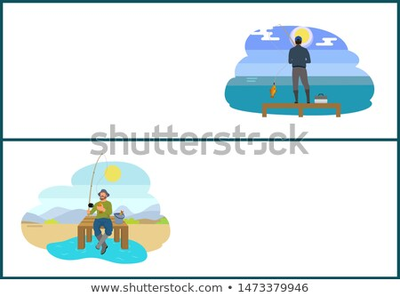 Fishing People Hobbies Set on Web Posters Anglers Stock photo © robuart