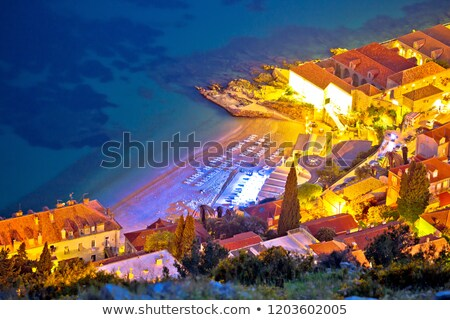tengerpart · Dubrovnik · légi · este · kilátás · régió - stock fotó © xbrchx