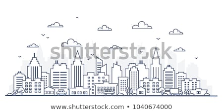 city building   line design style vector illustration stock photo © decorwithme
