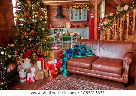 ストックフォト: ブラウン · 装飾された · クリスマス · ポーチ · 木