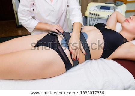 Woman in spa getting electrodes therapy Stock photo © Kzenon