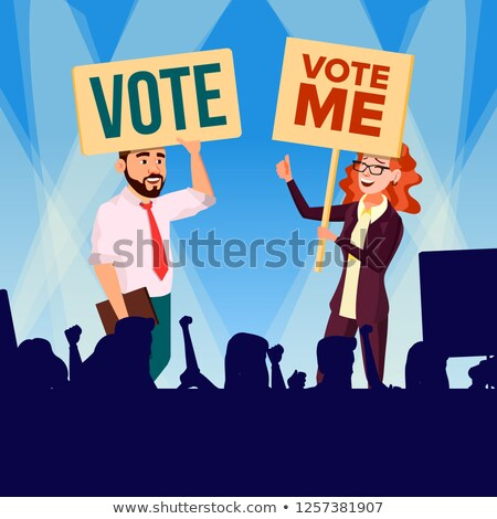 Agitation And Call To Vote Vector. Female And Male Characters Holding Broadsheet Vote And Shouting D Stock photo © pikepicture