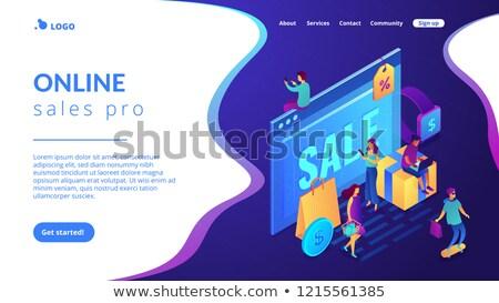 Online sales pro concept Isometric 3D landing page. Stock photo © RAStudio