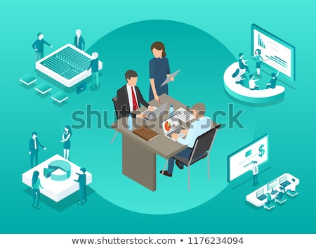 Blockchain Boss and Secretary Vector Illustration Stock photo © robuart