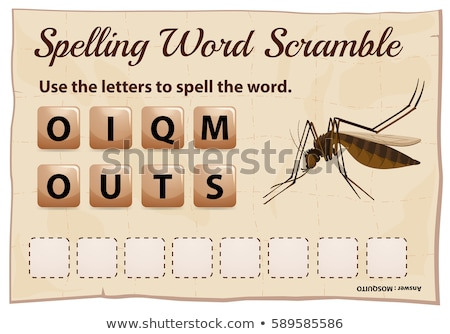 Spelling word scramble game with word mosquito Stock photo © colematt