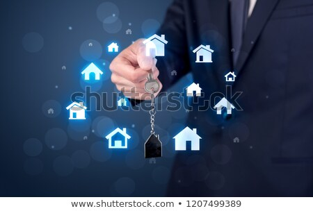 kéz · tart · kulcsok · új · ház · nő · ház - stock fotó © ra2studio