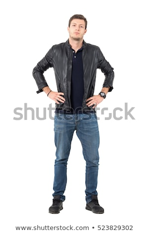 portrait of confident unshaved man wearing leather jacket and su Stock photo © feedough