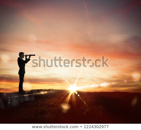 Businessman in a field looks far for new business Stock photo © alphaspirit