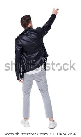 Bonito empresário jaqueta de couro em pé branco Foto stock © feedough