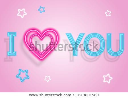 klasszikus · izzik · szeretet · felirat · valentin · nap · üdvözlőlap - stock fotó © lissantee