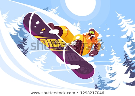 Jumping snowboarder in trendy suit Stock photo © jossdiim