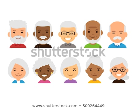 Asian Old Woman Vector. Senior Person Portrait. Elderly People. Aged. Animation Creation Set. Face E Stock photo © pikepicture