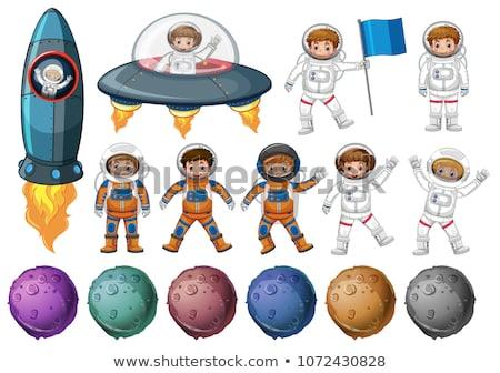 Kinderen astronaut kostuum verschillend planeten illustratie Stockfoto © colematt