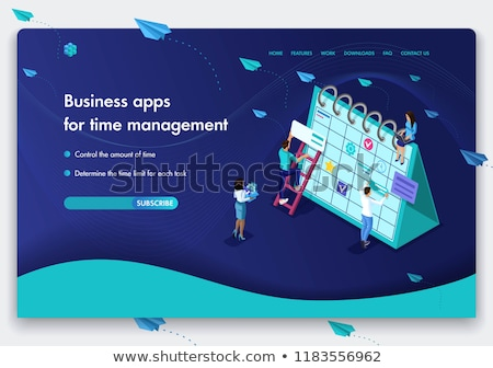 flat isometric vector landing page template for time is money income growth stock photo © tarikvision