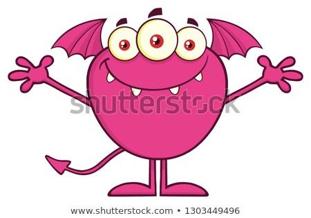 Glimlachend roze monster cartoon mascotte karakter Open Stockfoto © hittoon