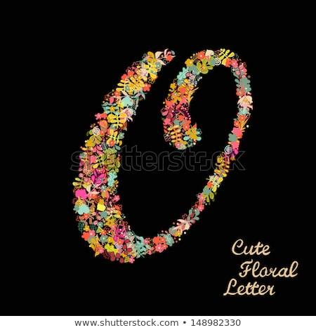 Letter O made from flowers gerbera on a color background of the year 2019 Living Coral Pantone. Part Stock photo © artjazz