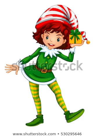 Girl dressed up in elf outfit holding present box Stock photo © colematt