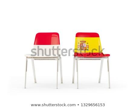 Dois cadeiras bandeiras Indonésia Espanha isolado Foto stock © MikhailMishchenko