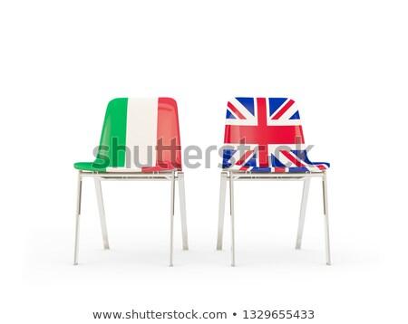 Zwei Stühle Fahnen Italien Vereinigtes Königreich isoliert Stock foto © MikhailMishchenko