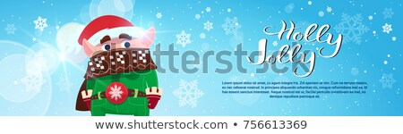 holly jolly cute greeting card with santa and elf stock photo © robuart