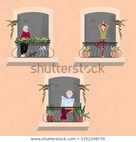 Old Person Reading Newspaper and Lady Set Vector Stock photo © robuart