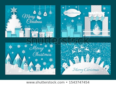 Merry Christmas Origami Postcards House Fire Tree Stock photo © robuart