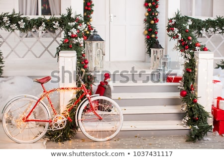 Street lantern with decorative Christmas garlands. New year and  Stock photo © cookelma
