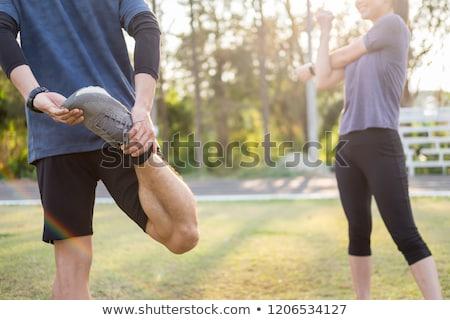 Training fitness paar buitenshuis Stockfoto © snowing