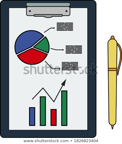 Iscritto tablet analitica grafico pen icona Foto d'archivio © angelp