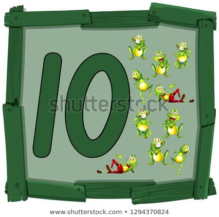 Dez sapo bandeira ilustração madeira Foto stock © colematt