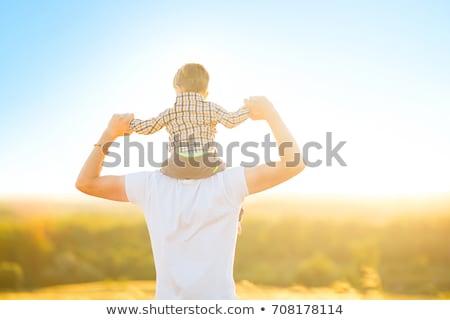 Bild glücklich Vater Mann tragen wenig Stock foto © deandrobot