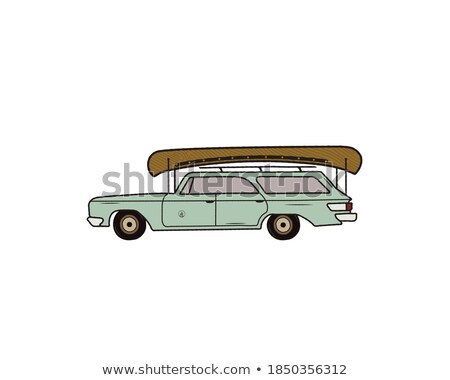 Vintage hand drawn camp car. Retro transportation with canoe. Old style automobile. Perfect for T-Sh Foto stock © JeksonGraphics