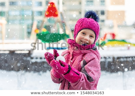 Christmas Holidays of Children Playing Snowballs Foto d'archivio © robuart